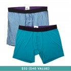 MeUndies Boxer Briefs 2-Pack (Gingham & Biscay Blue)