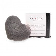 One Love Organics® Cleansing Sponge - Bamboo Charcoal Heart